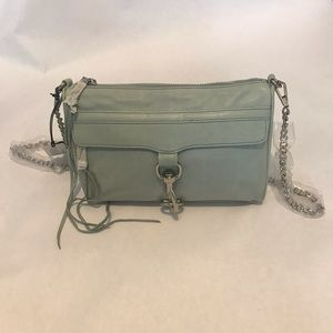 Rebecca Minkoff Leather MAC Clutch in Baby Blue